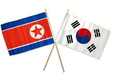 "12x18 12""x18"" Wholesale Combo Korea & South Korea Stick Flag"