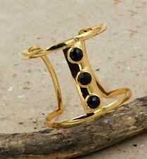 Solid 925 Sterling Silver Black Onyx Gemstone Handmade Gold Plated Cuff Bracelet