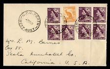 1953 AUSTRALIA PERTH QEII CORONATION BLOCK TO USA