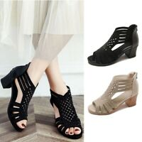 Women's Open Peep Toe Sandals Mid Block Heel Summer Short Boots Hollow out Shoes