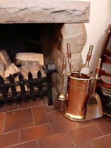 Vintage Heavy Copper & Brass Complete Fireside Companionship Set