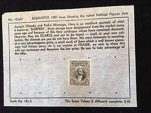 1901 Ecuador Postage Stamp on Old Scott Sheet #152 Scarce!!