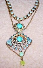 NEW FRENCH SATELLITE PARIS ENAMELED STAR, SEQUINS & CRYSTAL  STATEMENT NECKLACE