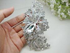 Bridal Long Flower Cluster Bridal Pendant Brooch Pin Clear Rhinestone Crystal