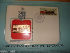 Canada Fdc w/ 23 kt gold replica Stamp 1984 Early Steam Locomotives