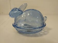 Circleware Light Blue Glass Rabbit On Nest Candy Dish With Lid hd1136