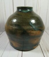 "STUDIO ART POTTERY, RD JUG-VASE, HEAVY, BROWN WITH SPLASH OF BLUE GLAZE, 5"" TALL"