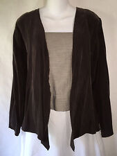CTC Carol Turner Collection Rich Brown Bemberg Rayon Open Front Jacket Medium M