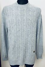 VALENTINO ITALY MENS GRAY/BLUE BEAUTIFUL WOOL CREW NECK SWEATER SIZE :L