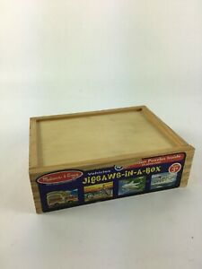 Melissa&Doug Jigsaws in a  Box 4 Puzzles each in a compartment 48 Wood Pieces T1