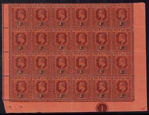 FIJI 1903 KEVII 1D PLATE 1 BLOCK MNH ** WMK CROWN CA