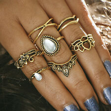 14Pcs/set Boho Gold Silver Turquoise Above Knuckle Finger Ring Band Midi Rings