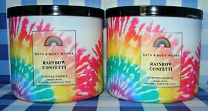 Bath & Body Works RAINBOW CONFETTI 3 Wick Scented Candle Lot of 2