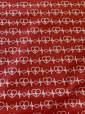 Red HEARTBEAT EKG 100% Cotton Fabric by the Half Yard