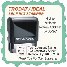 Business Return Address w/Logo & 4th Line, Trodat / Ideal 4900 series, Self Ink