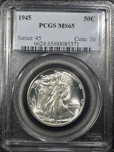 "1945 Liberty Walking Half Dollar ""PCGS MS65"" *Free S/H After 1st Item*"