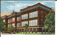 CE-343 IN, Peru, Peru High School, Linen Postcard Indiana Curt Teich