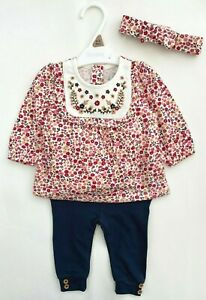 Nutmeg Baby Girls Outfit Cotton Floral Ditsy Tunic Top Leggings Bow Headband NEW