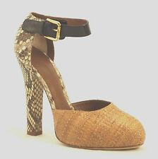 DOLCE & GABBANA Raffia and Python Pump High Heel Hidden Platform Round Toe Sz 40