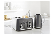 Breville VKT065 VTT853 Storm Grey & Chrome Jug Kettle 4 Slot Toaster Set