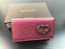 NWT GUCCI GG Pink Patent Leather Interlocking GG Lovely Heart Key Holder Case