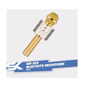 WS-858 Wireless Karaoke Bluetooth Microphone HIFI Speaker - Gold