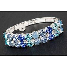 Equilibrium 274361 - BLUE CRYSTAL SILVER PLATED HALF BRACELET - Glamour & Glitzy