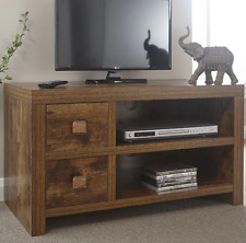 Small Wooden TV Stand Indian Wood Furniture Mango Cabinet Unit Rustic Widescreen