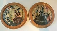 Vintage Pair Round Reverse Glass Silhouettes Framed Dried Flowers