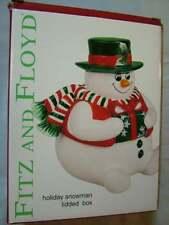 Fitz and Floyd Holiday Snowman Lidded Box Unused
