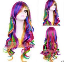 Long Multi Color Rainbow Rock Spring Bouquet wavy fashion Cosplay party Wig