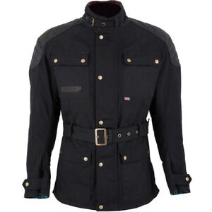 Spada Staffy Waxed Cotton Waterproof Motorcycle Motorbike Jacket - Black