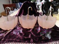 3 VTG PINK FENTON SATIN GLASS UMBRELLA SHAPE SERVE BOWLS 1 GOLD 2 SILVER 1930'S