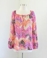 Trina Turk Pink Orange Multi Color Chevron Striped Silk Blouse Top Size M