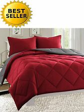 Reversible Goose Down Alternative Comforter Sham 3 PC Set 90 GSM - 10 Colors