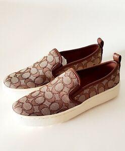 Coach C115 Sig Jacq Sneake Slip On Sneakers Womens Size 9 B Khaki G5311