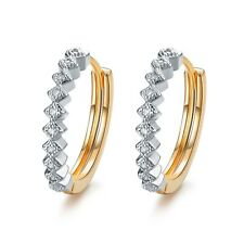 AEIWO 18k yellow gold gp huggies sparkling simulated diamond earrings grid