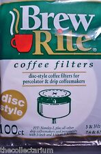 "Disc Coffee Filters Brew Rite 100ct Filter USA  3 ½"" & 3"" Percolator unbleached"