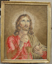 Exquisite 18th century Painted portrait of Christ. Gouache & Silk Embroidery
