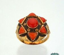 9k Yellow Gold Coral Star of David Ring Europe 1930s