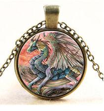 Vintage dragon Cabochon Bronze Glass Chain Pendant Necklace #682