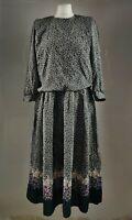 REO Vintage Women's Dress Ditsy Floral Print Black Long Midi Retro Blogger UK 12
