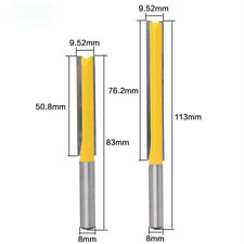 """2Pcs 8mm Shank 2"""" and 3"""" Blade Extra Long Straight Router Bit Woodworking Cutter"""