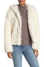 Avec Les Filles Womens XS Off White Faux Fur Fuzzy Hooded Jacket New $150