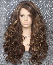 Long Curly Brown Mix Full Wig Heat OK Wavy Hair Piece Layers Bangs 8-27-613 WBT