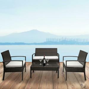 4 PCS Rattan Patio Furniture Set Garden Lawn Sofa Set /w Cushion Seat Mix Wicker