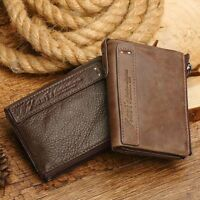 Genuine Leather Men Small Zipper Walet Male Short Coin Purse Rfid Prtection