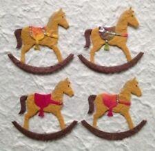 5 Horses rocking horse Diecut Handmade Mulberry Paper batik Babies cowboy cards