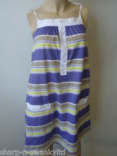 ☆ NEW Ladies Purple/White Striped Long Strappy Vest Top UK 8-10 EU 36-38 ☆