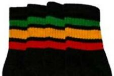 "19"" MID CALF BLACK tube sock with GREEN/GOLD/RED rasta stripes style 1 (19-2)"